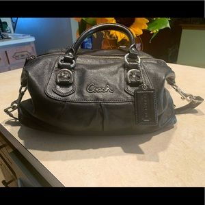 Coach Ashley Leather Satchel Handbag Black